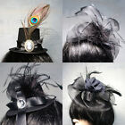 Black Party Clip On Hat Costume Ball Retro Bird Cage Mesh Bow Jewel Rose Ribbon