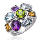 REAL MULTI COLOR GEMSTONES SOLID 925 STERLING SILVER RING WOMENS FASHIOH JEWELRY