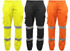 High Visibility Fleece Lined Trousers / Joggers Combat Style with Hi Viz Strips