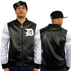 Dirty Money Faux Leather Top White Bandanna Sleeves College Track Jacket Man PU