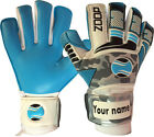 Goalkeeper Goalie Hybrid Roll+Neg Finger Saver Gloves Color Cyan/grey/Black