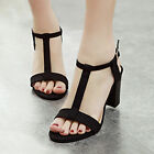 Women's Gladiator Shoes Sandals T-Strap Open Toe Chunky High Heel Sandals Pumps