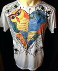 Mens Cotton Mirror T Shirt Owls Heart Colourful Boho Hippie Rare Birds M L Skate