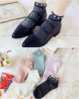 Women Girls Street Snap Sweet Lace Pearl Silver Transparent Ankle Socks