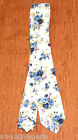 "Adult Slim Ivory With Blue Floral / Flowers Neck Tie 2"" Wide"