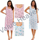 Ladies 100% SOFT COTTON Nightie Nightdress Sleeveless Summer Button Floral Lace