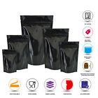 STAND UP POUCHES MYLAR FOIL BAG HEAT SEAL FOOD GRADE ZIP LOCK BLACK SHINY BAGS
