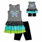 """Girl 5 10 and 18"""" Doll Matching Ruffled Tiered Tunic Shorts Outfit American Girl"""