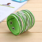 Multilayer Crystal Leather Bracelet Cuff Bangle Charm Jrewelry 10 Colors