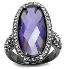 2016 Purple Blue Oval Halo Ring Cocktail Stainless Steel Black J L N LTK2840E