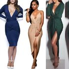 Ladies Sexy V-neck Irregular Bodycon Dress Long Sleeve Party Wrap Evening Gowns