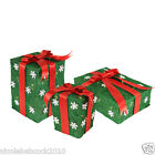 SET OF 3 CHRISTMAS Lighted RED WHITE GREEN GIFT BOXES PRESENT YARD DECOR