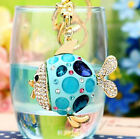 Car Keyring Keychain Pendant For Bag Bling Rhinestone Resin Fish 4colors