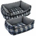 Comfort Black / Blue Check Design Rectangular Pet Bed Fleece Finish Washable