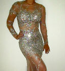 Sexy Mermaid Partial See-Through Cocktail Party Gowns Crystal Sequins Prom Dress