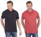 Mens Acid Wash Polo Shirt Short Sleeve T-Shirt Top Regular Fit Casual Size S-XXL