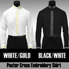 New Men's Clergy Black and White Preacher Pastor Cross Embroidery Shirt DS2005C