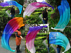 2pcs 1.35m*0.6m interchangeable silk dance veil poi, steel chain, edges rolled.