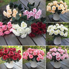 12 Heads Artificial Silk Fake Flowers Leaf Rose Wedding Floral Decor Bouquet NEW