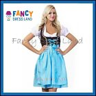 Womens Traditional German Blue Dirndl Oktoberfest Dress Costume
