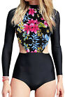 Red White Flowery Print Long Sleeve Surfing One Piece Swimsuit Sporty Rash guard