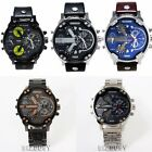 Fashion Alloy Dial Men Stainless Steel  Leather Band Wrist Watch Double Movement