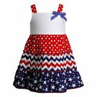 Toddler Girl & Girls 2T-6X Red White Blue Patriotic Americana Tier Summer Dress