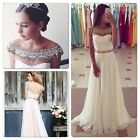 Elegent Beaded Pearls Formal Party Dresses Sleeveless A-Line Evening Formal Gown
