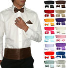 Mens Formal Adjustable Cummerbund Bow Tie Hanky Set Wedding Prom Tuxedo Suit