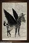 DICTIONARY PAGE ART PRINT - Flying Zebra Antique Book paper