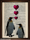 DICTIONARY PAGE ART PRINT - PENGUIN LOVE  Antique Book paper