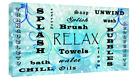 Bathroom Words Blue Tones Quote on CANVAS WALL ART Picture Print
