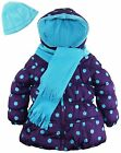Pink Platinum Little Girls' Big Polka Dots Puffer Jacket Scarf and Hat Set