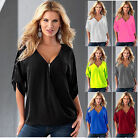 Women Summer V Neck Short Sleeve Shirt Loose Casual Blouse Tee Tops Plus Size