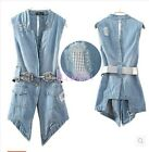 Womens Long Vest Belted Ripped Hole Denim Jeans Waistcoat Jackets Fashion Blue