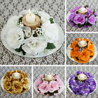 24 CANDLE RINGS with SILK ROSES Wedding Party Flowers for Centerpieces SALE
