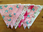 Tea party pink bunting - lovely flowers and ginghams for a delightful look.