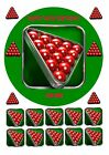 """SNOOKER TABLE BALLS 7.5"""" ROUND EDIBLE CAKE TOPPER WITH CUPCAKE TOPPERS"""
