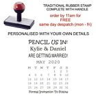 PERSONALISED PENCIL US IN CALENDAR SAVE DATE WEDDING INVITE RUBBER STAMP 11622