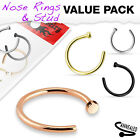 4pk of Rose Gold, Black, Gold IP Surgical Steel Nose Hoop Rings Body Jewelry
