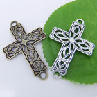 5/10/100 pcs Tibetan Silver Cross Flower Charms Curved Connector Beads 42mm P230