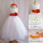 Gorgeous white/orange tangerine tulle wedding flower girl party dress all sizes