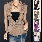 Fabulous Chiffon Tiered Ruffles Crinkles Wrap Sleeveless Shirt Top
