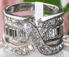 2 Piece Engagement Ring WEDDING SET Stainless Steel Crystal Size P R T 8 LTK970E