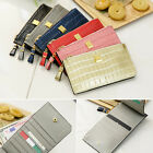 Women's Genuine leather button lock thin & long slim wallet with zipper pocket
