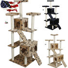 "Beige/Navy/Beige Color 73"" Cat Tree Condo Furniture Scratch Post Pet House"