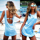 Sexy Summer Womens Backless Holiday Club Party Long Vest Tops Blouse Mini Dress