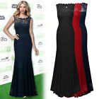 Ladies Elegant Evening Party Wedding Bridesmaids Floral Lace Maxi Fishtail Dress