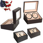 Display Case Box Luxury 4+6 Automatic Rotation Leather Wood Watch Winder Storage