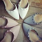 New Womens Ankle Strap Rivets Low Heels Pointed Toe Shoes Flats Summer Shoe